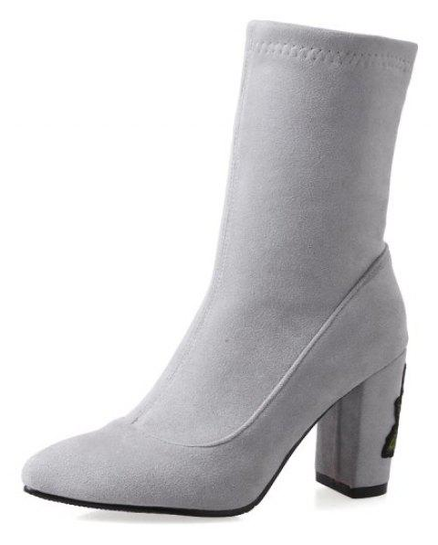 Stretch Dinky Boots with High Stitching Heel - GRAY EU 35