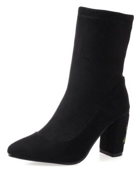 Stretch Dinky Boots with High Stitching Heel - BLACK EU 38