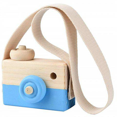 Wooden Toy Camera Kids Creative Neck Hanging Rope Photography Prop Gift - CRYSTAL BLUE