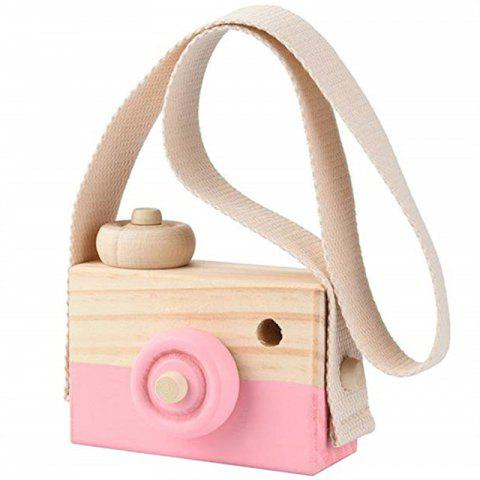 Wooden Toy Camera Kids Creative Neck Hanging Rope Photography Prop Gift - LIGHT PINK