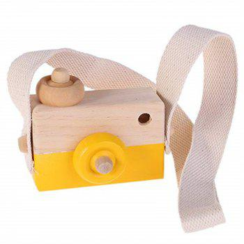 Wooden Toy Camera Kids Creative Neck Hanging Rope Photography Prop Gift - MUSTARD