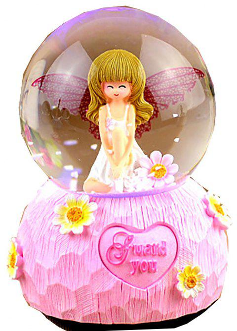 Angel Cute Girl brille Snowflake Music Box - Rose 8*8*12CM