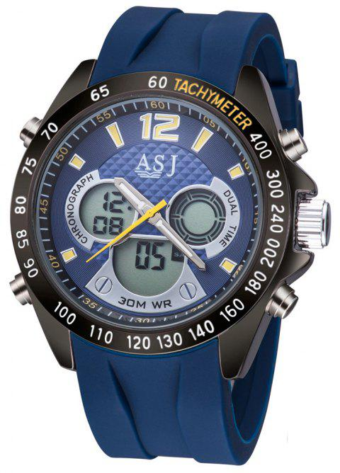 ASJ Men's Fashion Sport Digital Dual Display Quartz Analog Clock Watch - DEEP BLUE