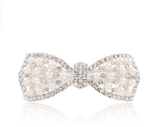 Diamond Fashion Simple Temperament Bow Hair Clip - SILVER