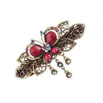 Fashion Vintage Butterflies Hairpin Cross Clip - MAROON