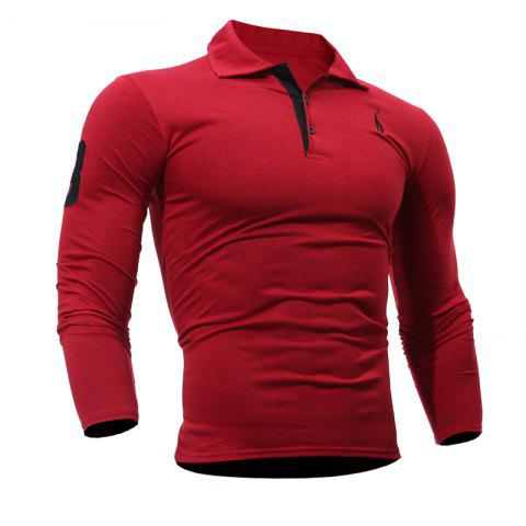 Men's Casual Embroiderye Long Sleeve Shirt - RED L