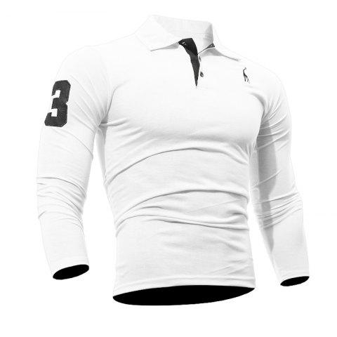 Men's Casual Embroiderye Long Sleeve Shirt - WHITE L
