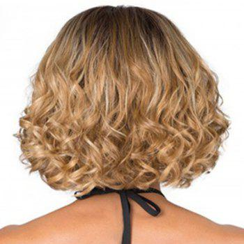 Central Parting Hair Style Small Wave Short Wig - CAMEL BROWN