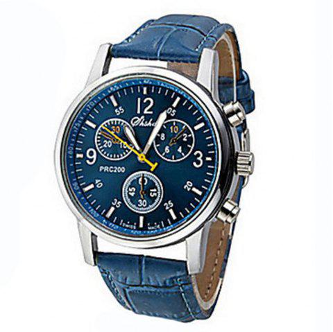 Fashion Casual Mens Sport Chargers Analog Leather Quartz Wrist Watch - PEACOCK BLUE