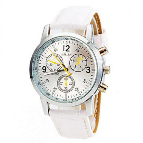 Fashion Casual Mens Sport Chargers Analog Leather Quartz Wrist Watch - WHITE