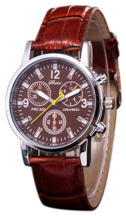 Fashion Casual Mens Sport Chargers Analog Leather Quartz Wrist Watch - BLOOD RED