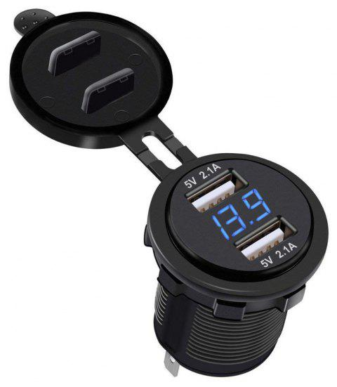 Water-resistant Dual USB Charger Socket Power Outlet  Voltmeter Cigarette Lighter - BLACK
