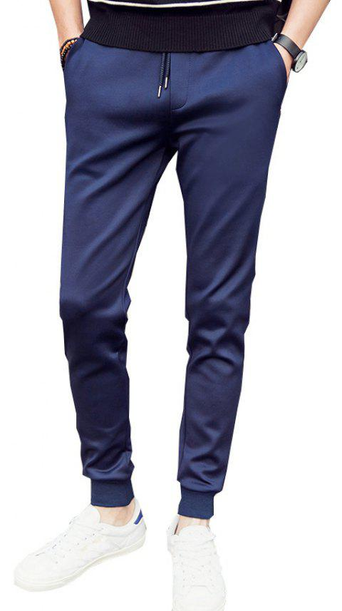 Men'S Solid Color Stretch 9 Points Small Feet Sports Pants - DEEP BLUE 2XL
