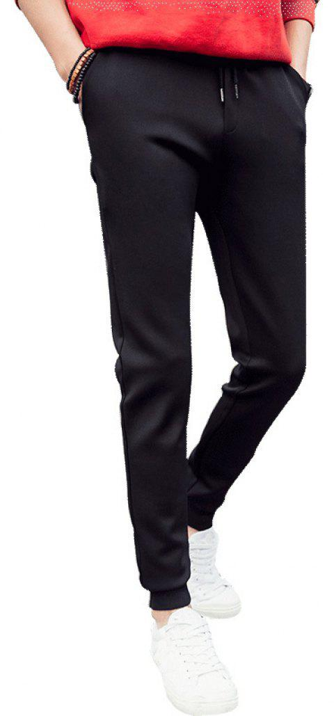 Men'S Solid Color Stretch 9 Points Small Feet Sports Pants - BLACK L