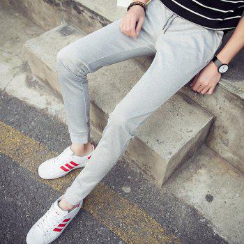 Men'S Solid Color Stretch 9 Points Small Feet Sports Pants - GRAY L