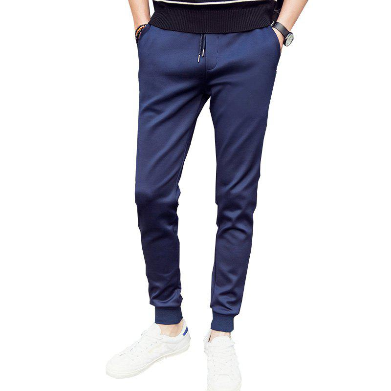 Men'S Solid Color Stretch 9 Points Small Feet Sports Pants - DEEP BLUE L
