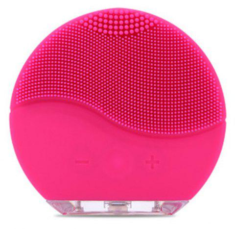 Silicone Face Brush with Facial Cleansing for All Skin Types - DEEP PINK