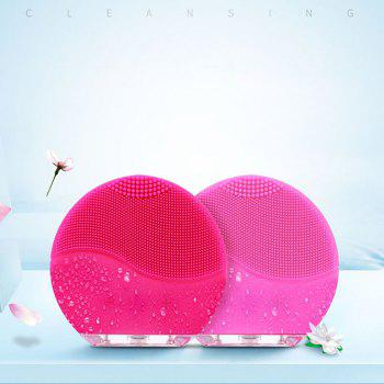 Silicone Face Brush with Facial Cleansing for All Skin Types - NEON PINK