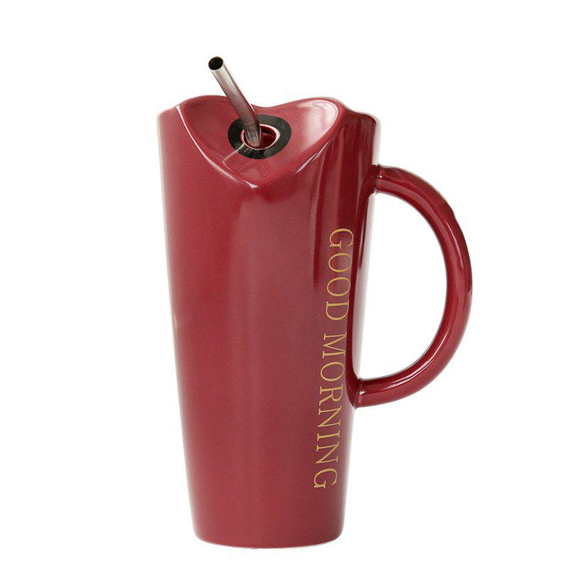 Coffee Mug With Straws Cup 500ML - RED WINE