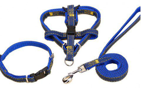 Pet Denim Chest Strap with Traction Rope - COBALT BLUE L