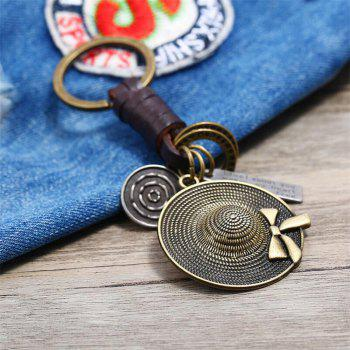 Creative Small Gift Hat Leather Keychain - BRONZE