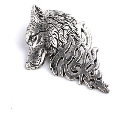 Personnalité Hommes Costume Col Broche Domineering Wolf Head Broche - Argent