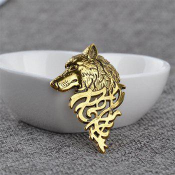 Personnalité Hommes Costume Col Broche Domineering Wolf Head Broche - Or