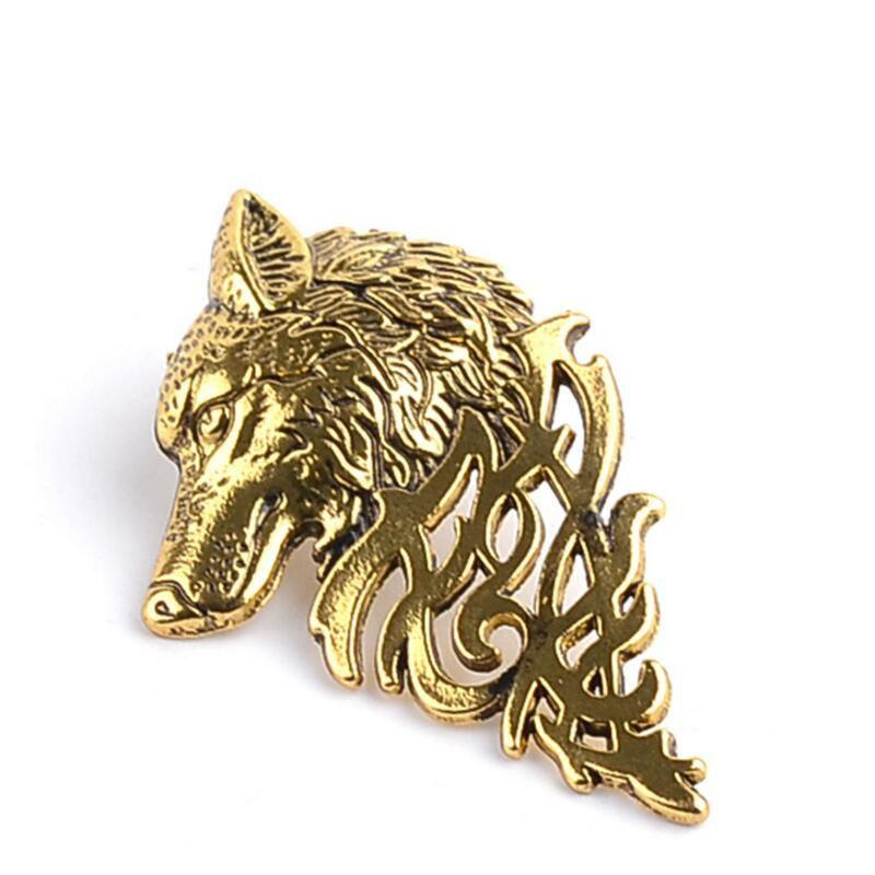 Personality Men's Suit Collar Pin Domineering Wolf Head Brooch - GOLD