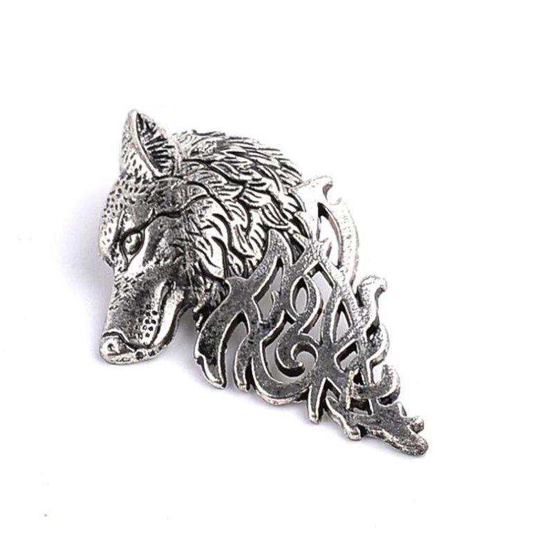 Personality Men's Suit Collar Pin Domineering Wolf Head Brooch - SILVER