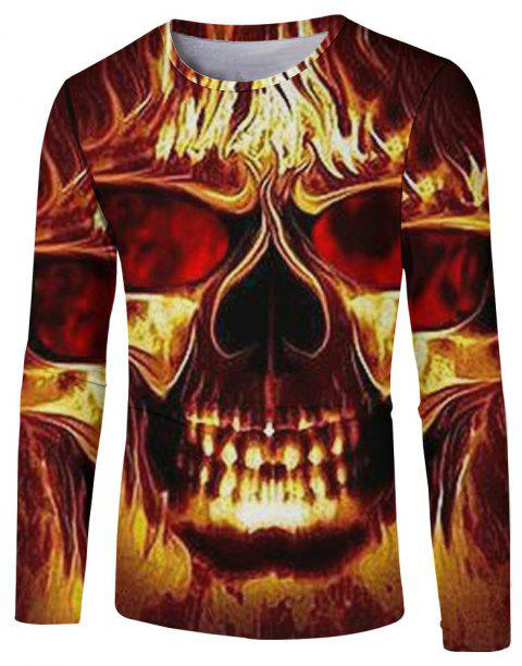 Men's New Fashion 3D Fire Ghost Digital Print Long-sleeved T-shirt - multicolor C L