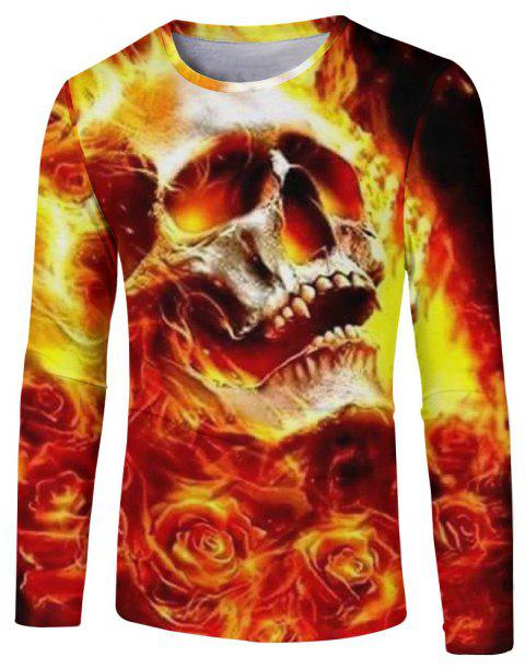 Men's New Fashion 3D Fire Ghost Digital Print Long-sleeved T-shirt - multicolor D M