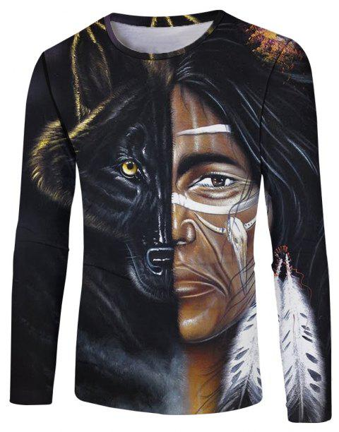 Fashion Personality 3D Human Wolf Face Digital Printing Men's Long-sleeved T-shirt - multicolor A XL