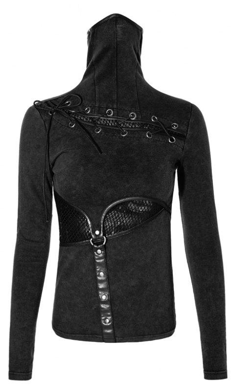 High Collar Woman Tight Long Sleeve Mesh Shirts - JET BLACK L