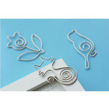 Cartoon Shape Paper Clip Metal Bookmarks for Books Stationery School Supplies - LIGHT GRAY 5PCS
