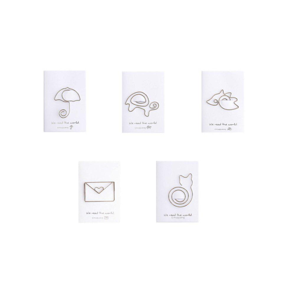 Cartoon Shape Paper Clip Metal Bookmarks for Books Stationery School Supplies - GRAY CLOUD 5PCS