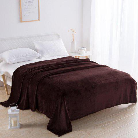 Home Comfortable Flannel Blanket Coffee Color - DEEP COFFEE W59 X L79 INCH