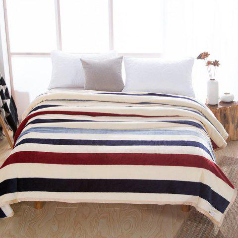 Home Comfortable Mink Velvet Blanket Fashion Stripe - multicolor W79 X L90 INCH