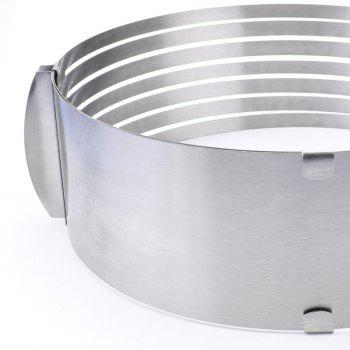 Stainless Steel Circle Mousse Cake Slicer Mold Cut Tools with Adjustable Ring - SILVER