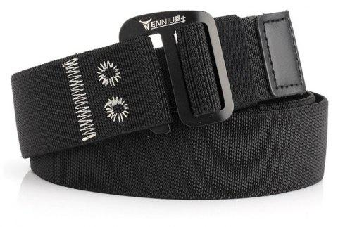 9-BUTTON Nylon Elastic Stretch Tactical Outdoor Woven Canvas Belt - BLACK