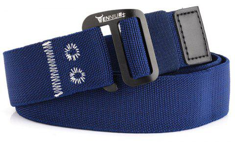 9-BUTTON Nylon Elastic Stretch Tactical Outdoor Woven Canvas Belt - DENIM DARK BLUE