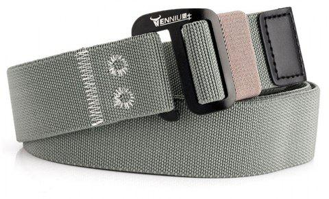 9-BUTTON Nylon Elastic Stretch Tactical Outdoor Woven Canvas Belt - LIGHT GRAY