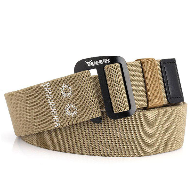 9-BUTTON Nylon Elastic Stretch Tactical Outdoor Woven Canvas Belt - CAMEL BROWN