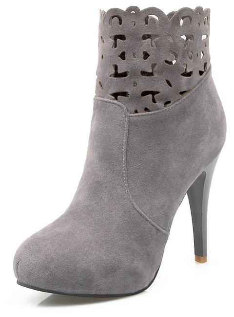 Hollowed Out Zipper Water Resistant Platform High Suede Banquet Ankle Boots - GRAY EU 34
