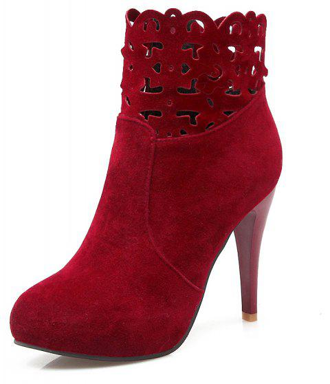 Hollowed Out Zipper Water Resistant Platform High Suede Banquet Ankle Boots - RED WINE EU 35