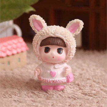 Cute Cartoon Girl Resin Home Desktop Decor Cadeau d'anniversaire - multicolor 7.2*7.2*10.5CM