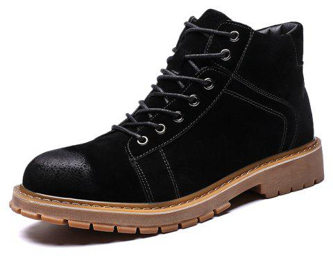 ZEACAVA Men's Fashion High Shoes Tooling Boots - BLACK EU 43