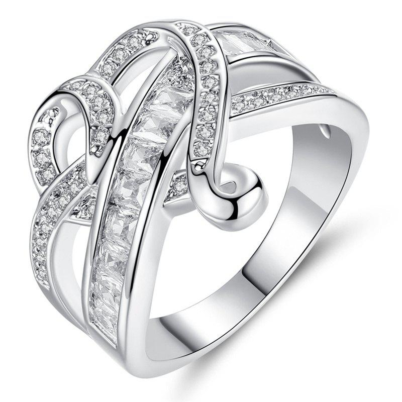Fashionable Diamond Crystal Heart Ring - WHITE ONE SIZE