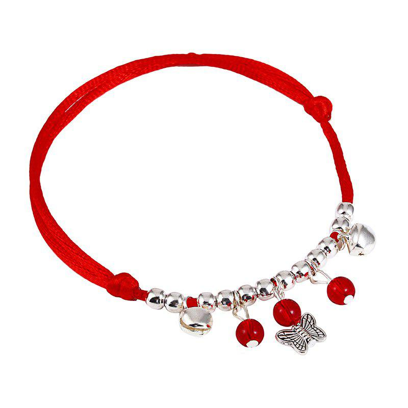 Simple Bell Red Rope Hand Woven National Wind Chain - RED