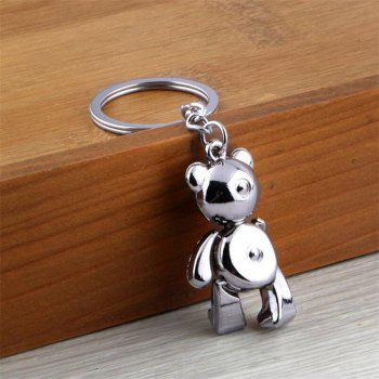 Personality Creative Metal Movable Bear  Keychain - SILVER