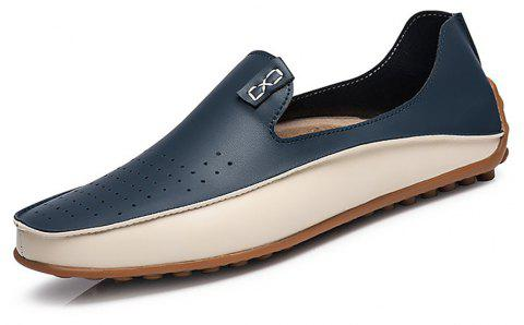 Men's Casual Flats Leather Driving Shoes - PEACOCK BLUE EU 43